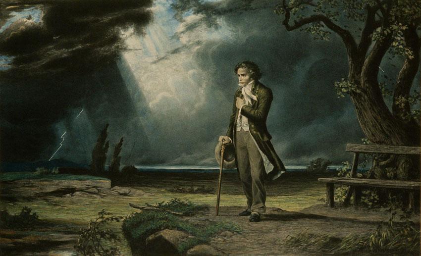 Beethoven en pied dans un paysage d'orage, lithographie de C. Schnveninger. Philharmonie de Paris, photo de J.M. Anglès