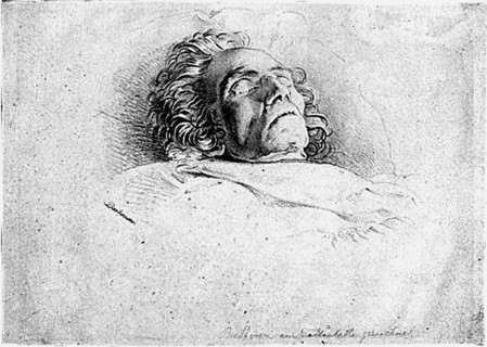 Beethoven sur son lit de mort, lithographie de Joseph Danhauser d'après son propre dessin, 1827. Beethoven-Haus, Bonn