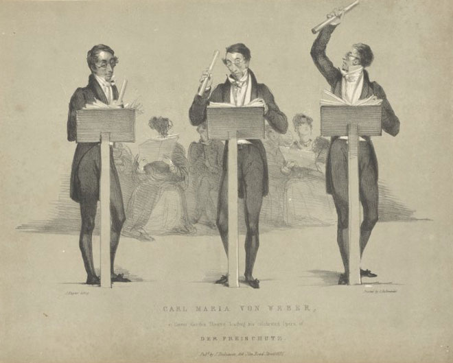 Carl Maria von Weber dirigeant Le Freischütz au Covent Garden Théâtre © NY, Public Library digital collections