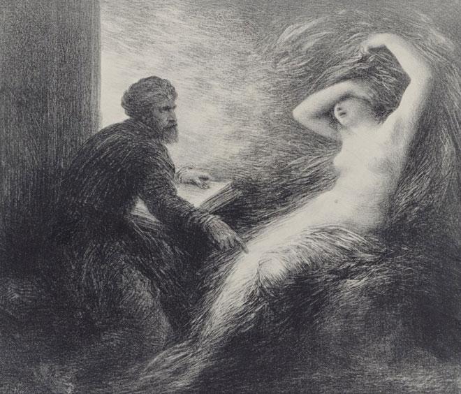 Klingsor et Kundry (Parsifal, acte II), lithographie d'Henri Fantin-Latour, 1903. Gallica-BnF