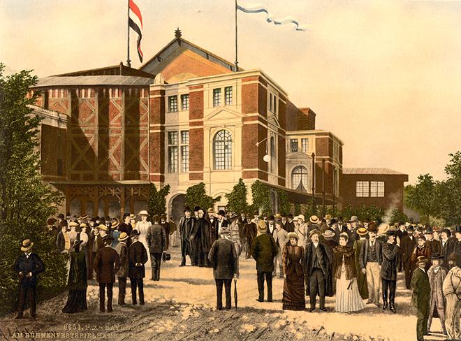 Le Buhnen-Festspeilhaus de Bayreuth, photochrome entre 1890 et 1900. Library of Congress