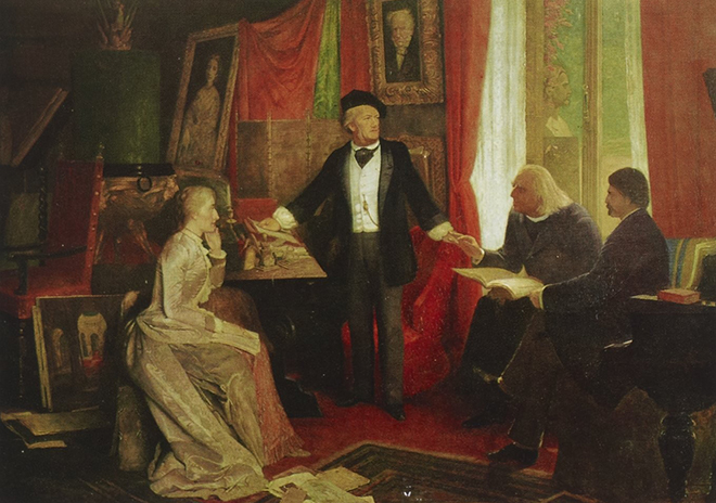 Richard Wagner chez lui à Bayreuth, d'après Wilhelm Beckmann. Gallica-BnF
