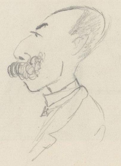 André Messager, carictaure au crayon de Gabriel Fauré © Gallica-BnF