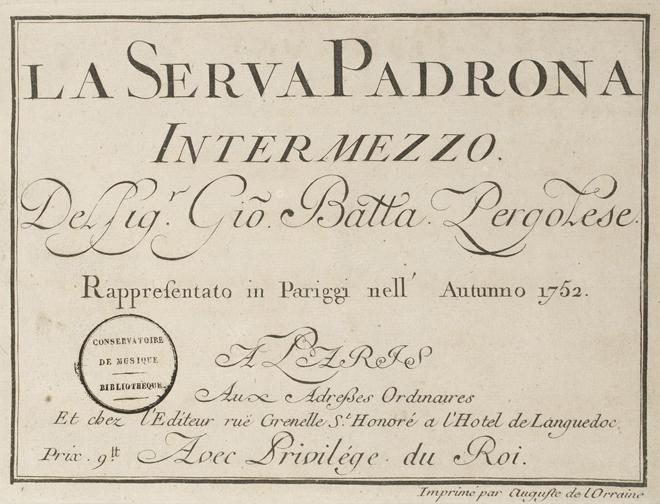 La Serva padrona de Pergolesi, partition édité par Auguste de Lorraine, 1752. Source: Gallica-BnF