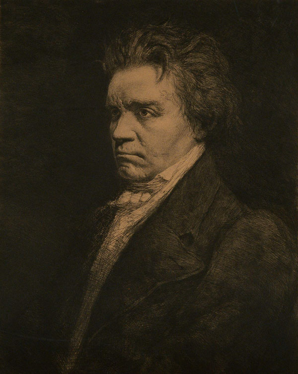 Portrait de Ludwig van Beethoven, eau-forte de Carel-L. Dake. Philharmonie de Paris, photo de J.M. Anglès