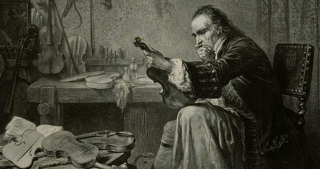 Stradivarius dans son atelier, peinture de Jean-Edouard Hamman, XIXe siècle, photographie de J.M. Anglès. © Musée de la musique