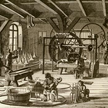Fabrique d'instruments de musique de M. Sax. L'illustration, vol. 10, n°258, 5 février 1848 © BNF