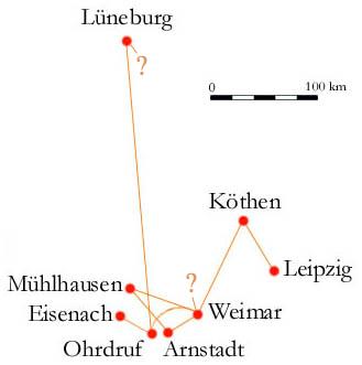 Carte, les itinéraires de Bach
