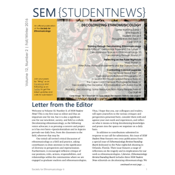 SEM newsletter (Society of Ethno Musicology)