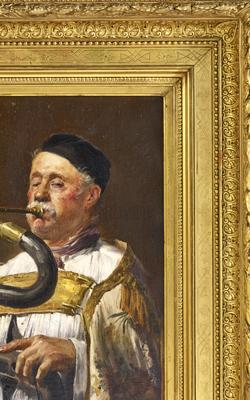 Peinture : Personnage d'église jouant du serpent - Musée de la musique