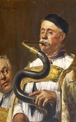 PERSONNAGE D'ÉGLISE JOUANT DU SERPENT - musée de la musique