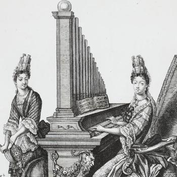 La belle organiste - gravure de Nicolas Arnoult - photo BNF-Gallica