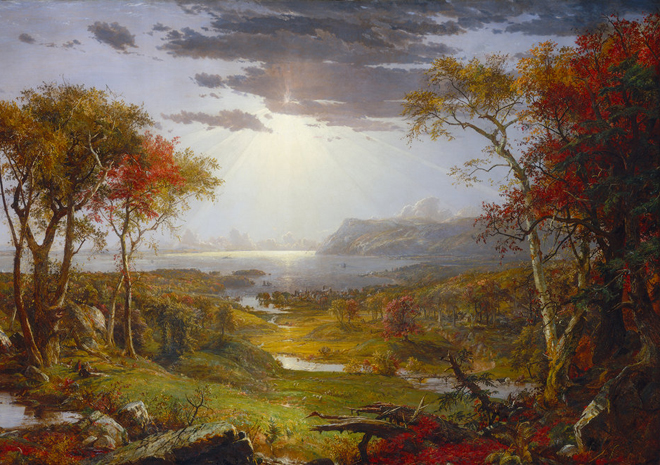 Autumn on the Hudson River, par Jasper Francis Cropsey, 1860. Source : National Gallery of Art